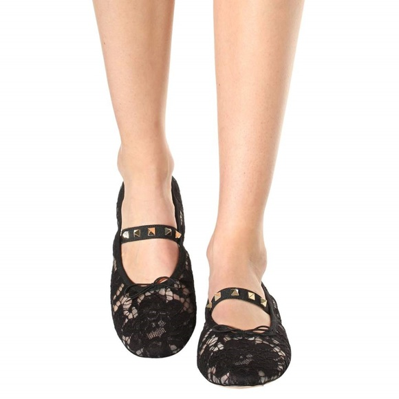 buy cheap finishline clearance factory outlet Valentino Rockstud Lace Ballet Flats comfortable online online Shop crlwkb2uix